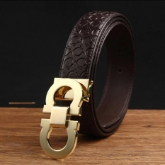 Toko Men S Cow Leather Fashion Style Belt With 33Mm Wide And 120Cm Lengh High Quality Leather Belt Coffee Gold Buckle Intl Lengkap Dki Jakarta