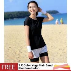 Menjalankan Kebugaran Yoga Warna Polos Lengan Pendek Leher Bulat Kaus Atasan Olahraga Luar Ruangan Ramping Jaring Berongga Dapat Bersirkulasi-Internasional
