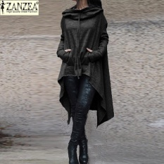 S-5XL Wanita Zanzea Fashion Muslim Hoodies Pullover 2017 Asimetris Hem Kasual Berlengan Panjang untuk