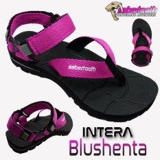 Sabertooth Sandal Gunung / Traventure Intera Blushenta Size 32 s/d 47 [Hitam Tali Pink]