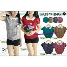 Blouse Kerah Wanita Bahan Rajut Bahan Adem Import / Polo Tshirt (Omina isstw kw pendek) NR - cream