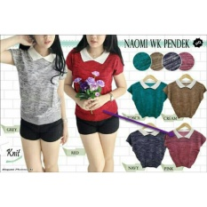Baju Wanita DE Sabrina Atasan Top Blouse Rajut Wanita / Kaos Polo Tshirt Polos / Kerah Polo Vneck Adem (Omina isstw kw pendek) NR -  Pink D3C