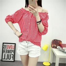 Sabrina kotak Lina merah RSQ Blouse Lengan pendek / Blouse Kotak Polos Cewek / Hem Kemeja Baju Wanita Fashion Bangkok / Blus Korean Style / Blouse Wanita Modern / blus wanita terbaru