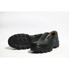 safety - Sepatu safety pendek kerja bahan kulit sapi asli slip on  hitam