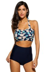 [Penjualan Di Breakdown Harga] Maya Diskon Besar Wanita Pinggang Tinggi Motif Nanas Halter Lembut Lapisan Bikini Set (gelap Biru) -Internasional