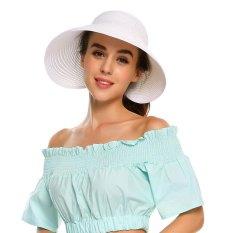 [Dijual Di Rincian Harga] Cyber Diskon Besar Wanita Musim Panas Lipat Topi Roll Simpul Jerami Berjemur Topi Pelindung Pantai topi (Putih) -Intl