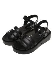 [Penjualan Di Breakdown Harga] Maya Clearance Penjualan Gaya Romawi Sepanjang Ujung Kaki Gesper Tebal Bersol Platform Datar Sandal (hitam) -Internasional