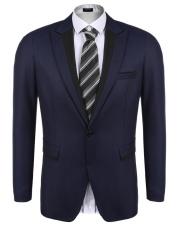 [Penjualan Di Breakdown Harga] Maya Promotion Pria Lengan Panjang Kerah Ramping Sesuai Blazer Satu Tombol Kantong Tutup Bisnis setelan Jaket (Angkatan Laut Biru) -Internasional