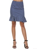 Toko Sale At Breakdown Price Cyber Promotion Women High Waist Mini Dot Mermaid Wear To Work Ruffles Pencil Skirt Dark Blue Intl Termurah