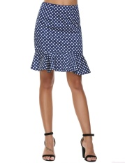 Model Sale At Breakdown Price Cyber Promotion Women High Waist Mini Dot Mermaid Wear To Work Ruffles Pencil Skirt Dark Blue Intl Terbaru