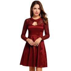 [Penjualan Di Breakdown HARGA YANG TERBAIK UNTUK Maya Terbaik Penjualan Baru Wanita Modis Elegan Panjang Lengan Lipit Kasual Baju Pesta Gaun (Merah) -Internasional