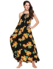 [Penjualan Di Breakdown Harga] Maya Terbaik Dijual Wanita Halter Tanpa Lengan Tanpa Bagian Belakang Bunga Manado Besar Gaun (Hitam) -Internasional