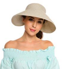[Penjualan Di Breakdown Harga] Maya Terbaik Penjualan Musim Panas Wanita Lebar Pinggiran Gulungan Hingga Ikatan Simpul Straw Matahari Pantai kedok Topi (Krem) -Internasional