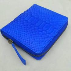 SALE !!! Bunga Size S Blue Color - Dompet Cewek Asli Kulit Ular Piton Model Kipas Mini