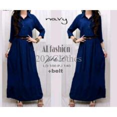 Sale Busana Muslim Gamis Simpel Maxi Navy Baju Wanita Remaja Murah