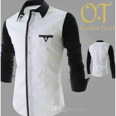 Sale Kemeja Pria Putih Combi Warna Hitam (N355 Executive White)