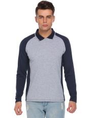 Penjualan Pria Casual Raglan Warna Kontras Lengan Panjang Zip-up Polo Shirt (Ultramarine Biru)-Intl