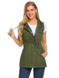 Spesifikasi Penjualan Wanita Casual Hooded With Drawstring Without Lengan Solid Tombol Depan Rompi Army Hijau Beserta Harganya