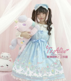 Salju Dan Es Gaya Jepang Soft Boneka Mencetak Gaun Putri Sling Gaun Biru Tua Warna Rok Gaun Terbaru