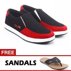 Salvo sepatu slip on A01 hitam/merah free ZR05