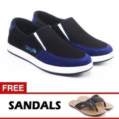 Salvo sepatu kets sneakers dan kasual pria / sepatu kasual kanvas / sepatu sneaker pria / sepatu pria / sepatu sneaker murah /sepatu pria casual /sepatu pria kasual / sepatu pria kulit / sepatu pria murah /sepatu pria slip on A01 hitam/biru free ZR05