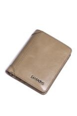 Beli Sammons Pria Real Lilin Minyak Asli Leather Purse Vintage Dompet Uang Clutch Bag Bifold Beige Baru