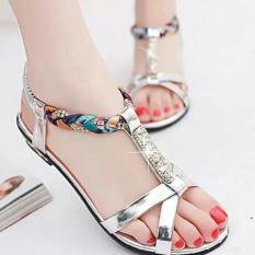 Beli Sandal Cewe Fashion Sandal Wanita Teplek Flat Shoes Perak Tp20 Online Murah