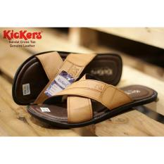 sandal Cross Genuine Leather - Tan -