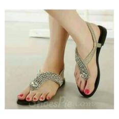 sandal flat permata cantik gold, sepatu sendal pesta santai wanita  terbaru