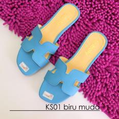 Spesifikasi Sandal Flat Wanita Ks01 Biru Muda Terbaru