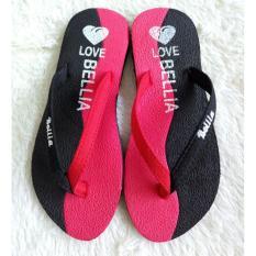 Sandal Jepit Wanita Motif Bella Warna Hitam Merah