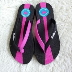 Sandal Jepit Wanita Motif Bella Warna Hitam Pink