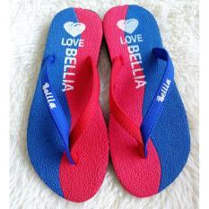 Sandal Jepit Wanita Motif Bella Warna  Merah Biru
