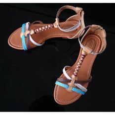 Sandal Kulit Wanita, 100% kulit, handmade in Bali, UTL FLATS TURQOUISE