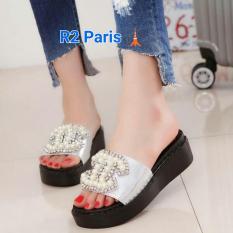 Jual Sandal Platform Selop Wanita Putih Mutiara Pth R2 R2 Ori