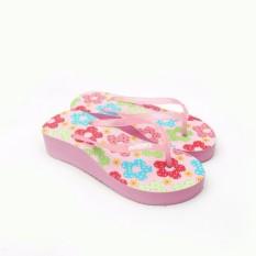 Sandal sendal wanita cewe mimoys jepit flat rose red flower ungu pink