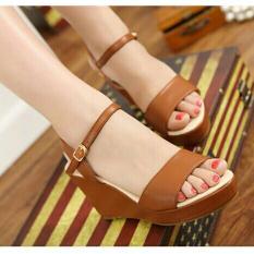 Beli Sandal Sepatu Wedges Wanita Murah Model Terbaru Ls03 Tan Pakai Kartu Kredit