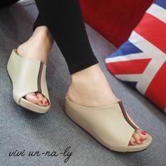 Harga Hemat Sandal Sepatu Wedges Wanita Murah Mr81 Cream