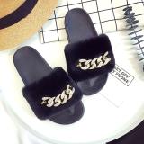 Sandal Slippers Datar Wanita Eropa Amerika Serikat Beludru Kristal Hitam Dengan Bagian Pengeboran Sepatu Wanita Sandal Wanita Asli
