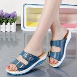 Jual Beli Sandal Slippers Kulit Wanita Casual Alas Lunak Biru Di Tiongkok