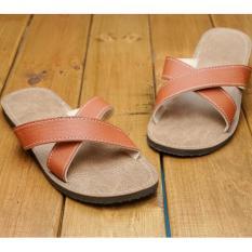 Sandal slop silang Wanita-sandal casual wanita cantik/sandal kulit sintetis wanita