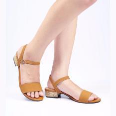 Jual Sandal Wanita Heels Jv035Tan Faux Leather Satu Set