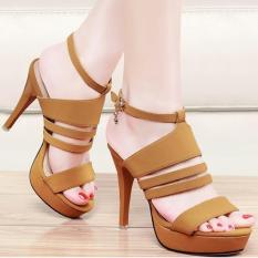 Review Sandal Sepatu Wanita High Heels Cewek Murah Ns03 Tan Di Indonesia