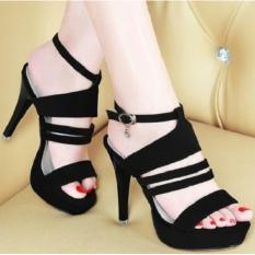 Harga Sandal Sepatu Wanita Cewek Murah High Heels Ns03 Hitam Fullset Murah