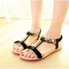 PALING DI CARI ! Sandal Wanita Flat / Sandal Wanita Terbaru Kepang Warna Hitam Terlaris