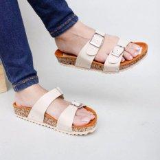 Pluvia - Sandal Flat Selop Wanita Santai Footbed ST02 - Cream
