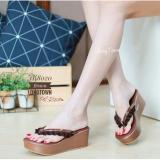 Harga Sandal Sepatu Wedges Murah Wanita Mr100 Tan Yg Bagus
