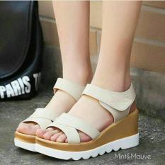 Sandal Wanita Wedges Murah Model Terbaru TP05 Cream