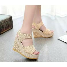 Sandal Wedges DNF 0055 Cream Murah / sandal pesta wanita / sandal wanita murah / sandal wanita terbaru