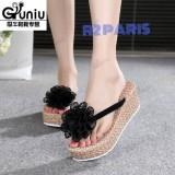 Spesifikasi Sandal Wedges Jepit Wanita Bunga Hitam Adenium R2 Dan Harganya